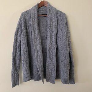 Ann Taylor Grey Wool Blend Open Cardigan Sweater